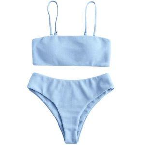 ➡️ NEED TO GO! • zaful • blue ripped bikini set